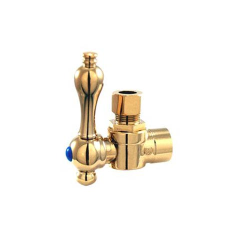 Elements of Design Accents Polished Brass Angle Stop with 1/2-Inch Sweat x 3/8-Inch OD Compression