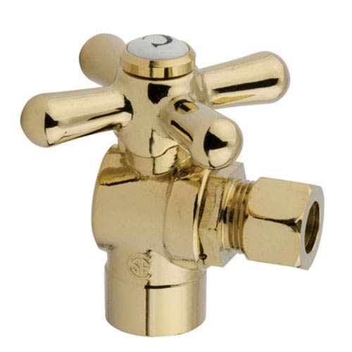 Accents Polished Brass Angle Stop with 1/2-Inch Sweat x 3/8-Inch OD Compression
