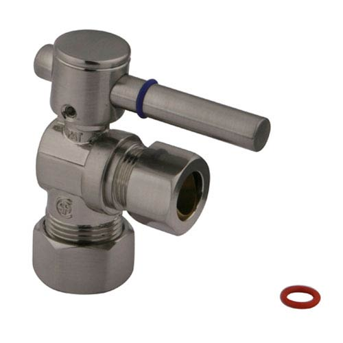 Elements of Design South Beach Satin Nickel 1/4-Turn Angle Stop Valve with 5/8-in OD Compression x 1/2-in or 7/16-in Slip