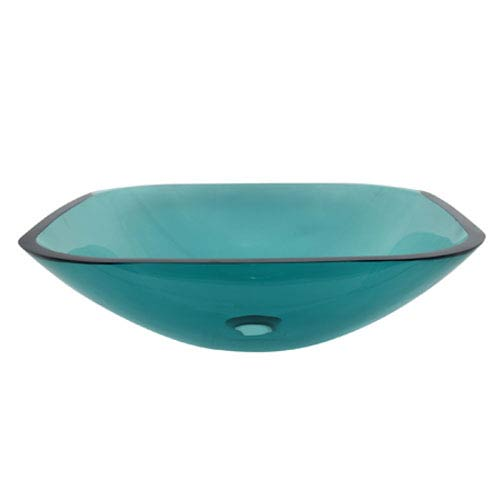 Green Square Temper Glass Vessel Sink