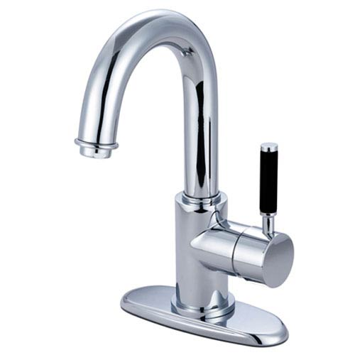 Nu-Vogue Chrome Single Handle 4-Inch Centerset Lavatory Faucet with Push Pop-up and Optional Deck Plate