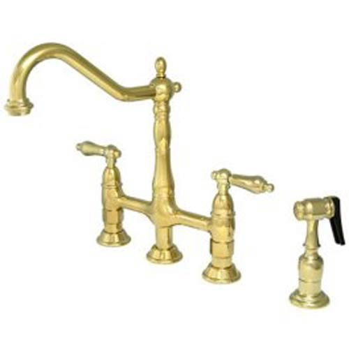 New Orleans Polished Brass Deck Mount Kitchen Faucet with Metal Lever