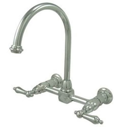 New Orleans Chrome Wall Mount Kitchen Faucet with Metal Lever