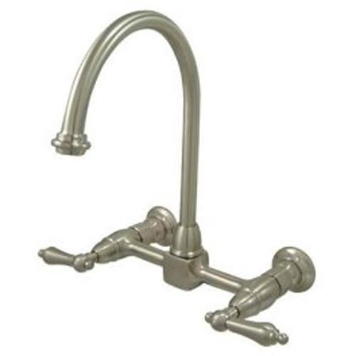 Elements of Design New Orleans Satin Nickel Wall Mount Kitchen Faucet with  Metal Lever