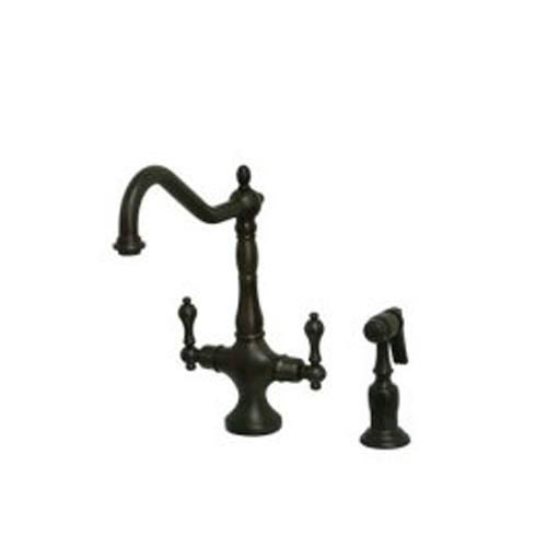 Heritage Oil Rubbed Bronze Kitchen Faucet With Brass Sprayer