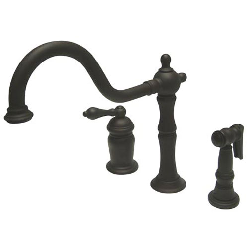 Dark Bronze Metal Lever Deck Mount Widespread Kitchen Faucet with Matching Brass Sprayer