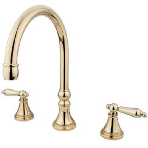 Madison Polished Brass Adjustable Spread Roman Tub Filler with Metal Lever