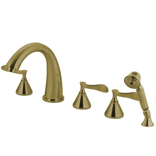 Elements of Design Marseille Polished Brass Roman Tub Filler with Hand Shower