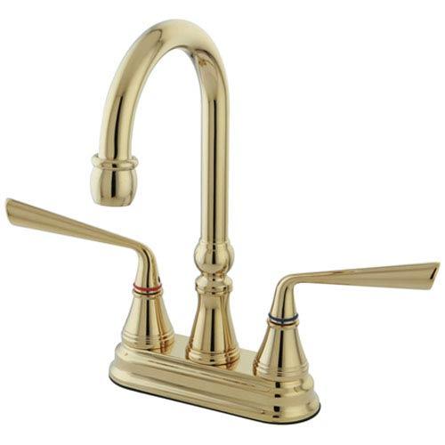 Elements of Design Copenhagen Polished Brass Double Handle 4-in Bar Faucet