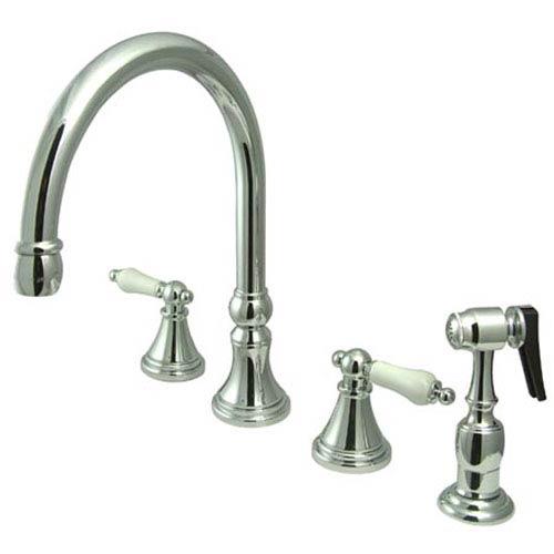 Elements of Design Chrome Porcelain Lever Adjustable Spread Deck Mount Kitchen Faucet with Matching Sprayer