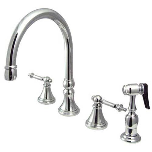 Elements of Design Chrome Templeton Lever Adjustable Spread Deck Mount Kitchen Faucet with Matching Sprayer