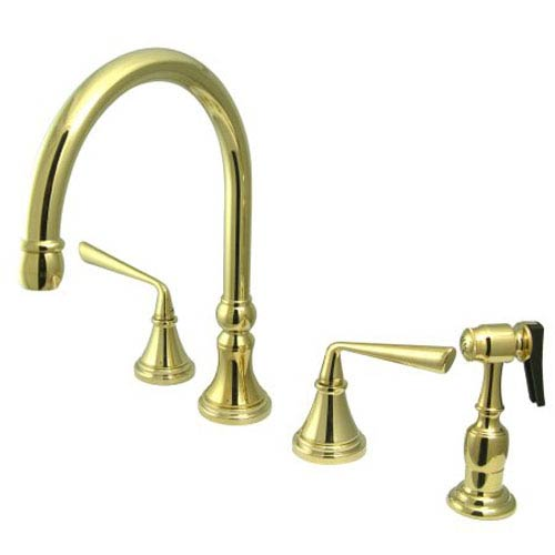 Polished Brass Metal Lever Adjustable Spread Deck Mount Kitchen Faucet with Matching Sprayer