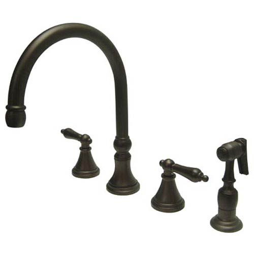 Oil Rubbed Bronze Metal Lever Adjustable Spread Deck Mount Kitchen Faucet with Matching Sprayer