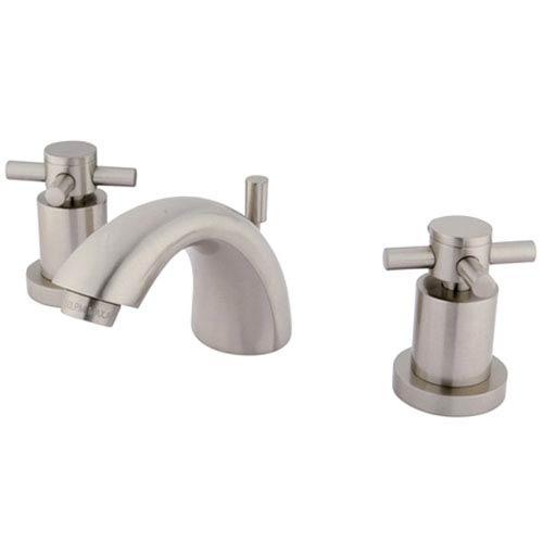 Elements of Design Satin Nickel Concord Cross Handle Mini Widespread Lavatory Faucet