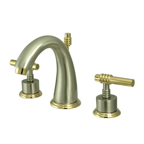 Elements of Design Milano Satin Nickel and Polished Brass Bathroom Faucet