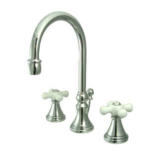 Madison Chrome Bathroom Faucet with Porcelain Crosses