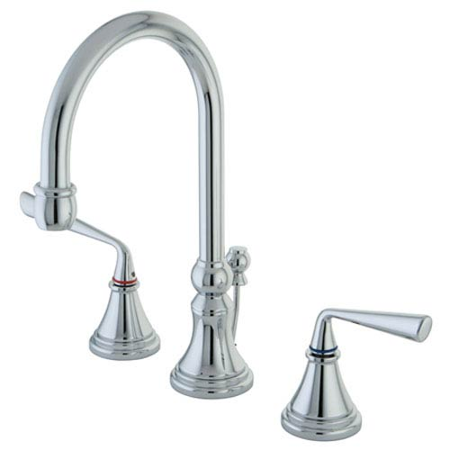 Copenhagen Polished Chrome Double Handle 8-16-in Widespread Lavatory Faucet with Brass Pop-Up