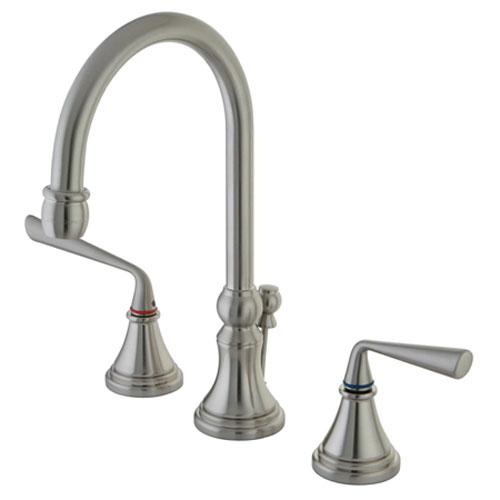 Copenhagen Satin Nickel Double Handle 8-16-in Widespread Lavatory Faucet with Brass Pop-Up