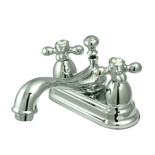 Chicago Chrome Centerset Bathroom Faucet with Metal Crosses