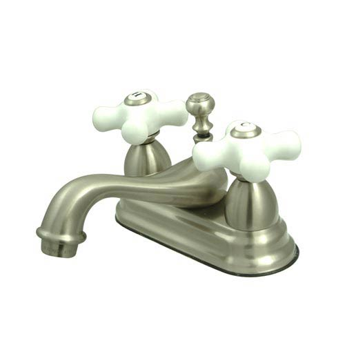 Chicago Satin Nickel Centerset Bathroom Faucet with Porcelain Crosses
