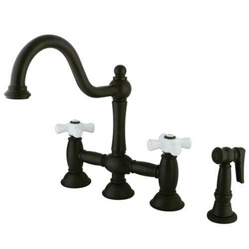 Chicago Oil Rubbed Bronze 8-Inch Deck Mount Kitchen Faucet with Brass Sprayer