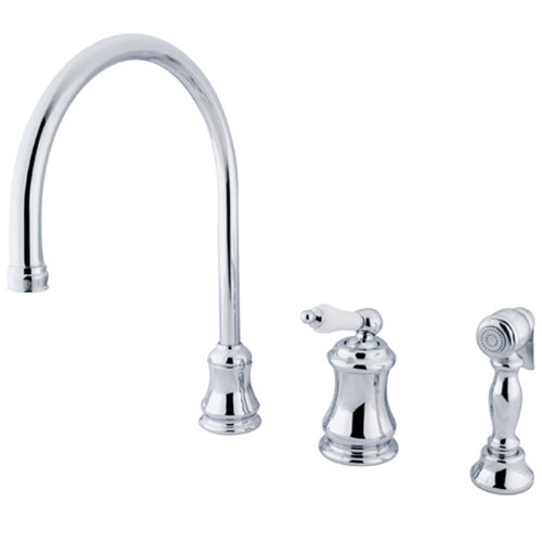 Chrome Porcelain Lever Widespread Kitchen Faucet with Matching Sprayer
