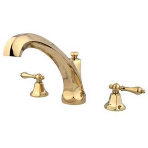 New York Polished Brass Roman Tub Filler with Metal Lever