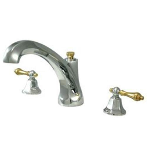 New York Chrome and Polished Brass Roman Tub Filler with Metal Lever