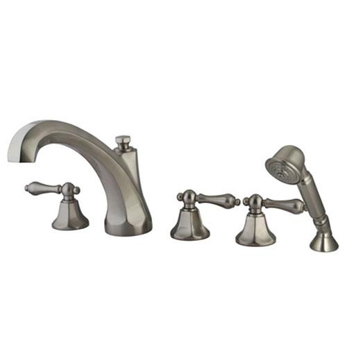 New York Satin Nickel Three Handle Roman Tub Filler with Hand Shower