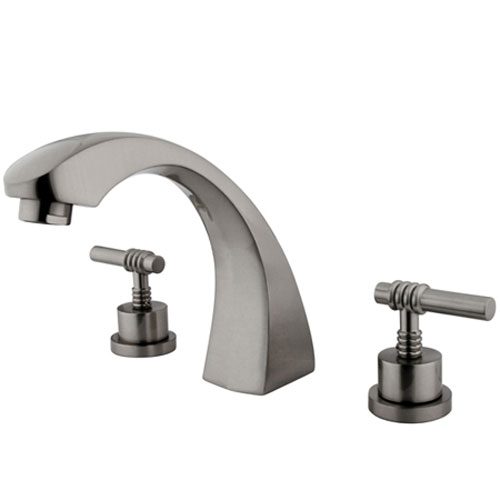 Satin Nickel Round Base Magellan Lever Roman Tub Filler