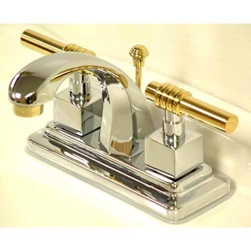 Milano Chrome And Polished Br Centerset Bathroom Faucet