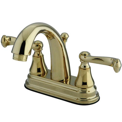 Elements of Design Elizabeth Polished Brass Two Handle 4-Inch Centerset Lavatory Faucet with Brass Pop-up