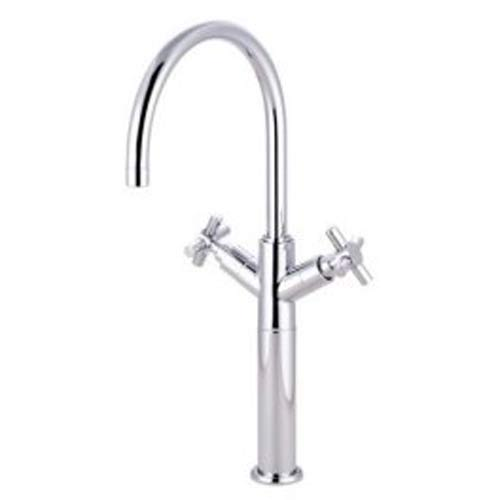 Chrome Vessel Sink Faucet with Metal Cross