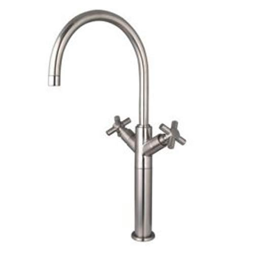 Satin Nickel Vessel Sink Faucet with Metal Cross