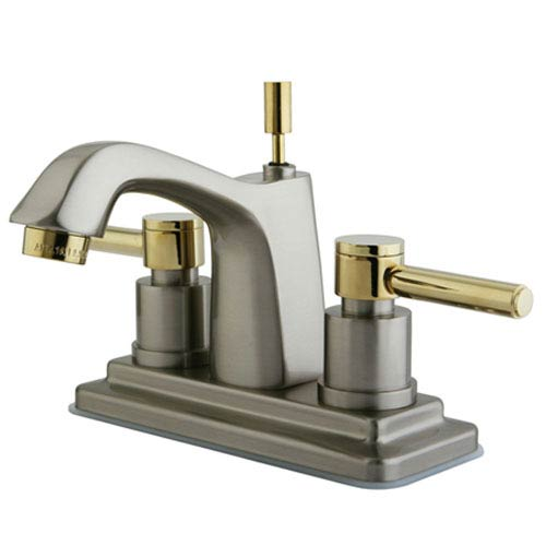 South Beach Satin Nickel/Polished Brass 4-in Double Handle Centerset Lavatory Faucet with Brass Pop-Up/Polished Brass