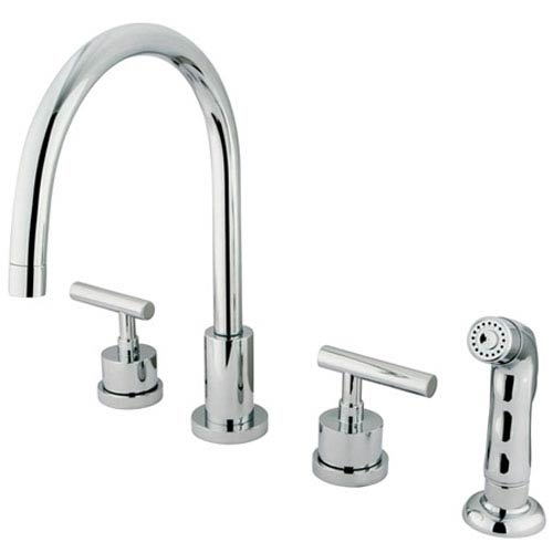 Louisville Polished Chrome Double Handle Widespread Kitchen Faucet with Non-Metallic Sprayer