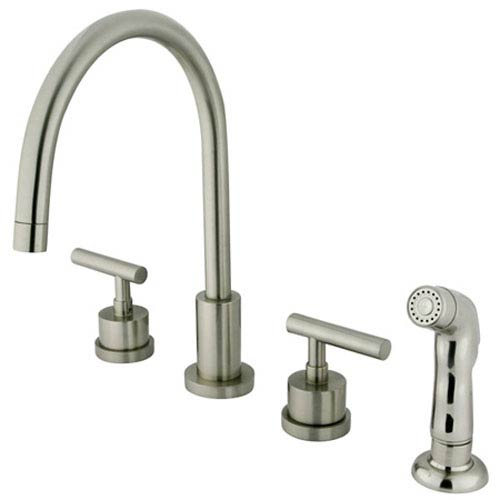 Louisville Satin Nickel Double Handle Widespread Kitchen Faucet with Non-Metallic Sprayer