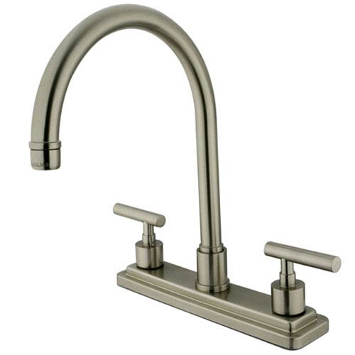 Satin Nickel Round Base Metal Lever Twin Handle Kitchen Faucet