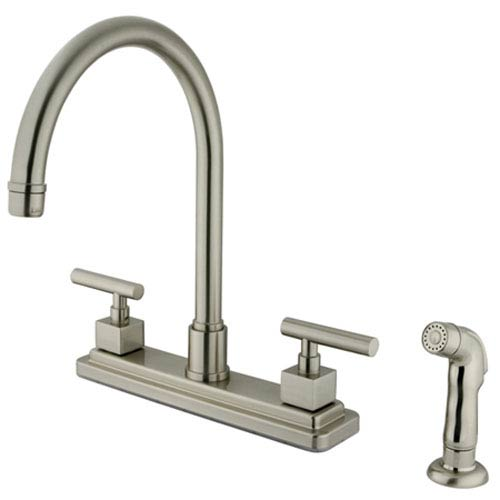 Satin Nickel Square Base Metal Lever Twin Handle Kitchen Faucet with Matching Plastic Sprayer