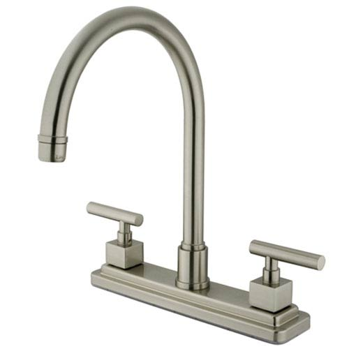 Satin Nickel Square Base Metal Lever Twin Handle Kitchen Faucet without Sprayer