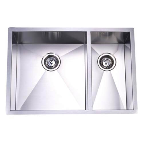Town Square Stainless Steel Offset Double Bowl Undermount Kitchen Sink