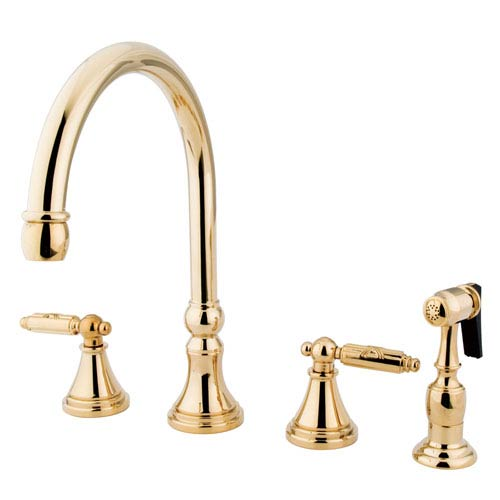 Georgian Polished Brass Widespread Low Lead Two Handle Kitchen Faucet with Matching Brass Sprayer