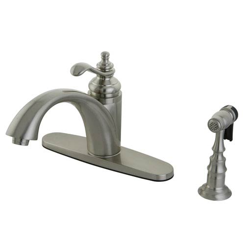 Templeton Satin Nickel 8-Inch Centerset Low Lead Single Handle Kitchen Faucet with Matching Brass Sprayer