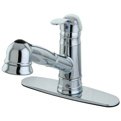 Eden Chrome 8-Inch Centerset Low Lead Single Handle Kitchen Faucet with Pull-Out Wand