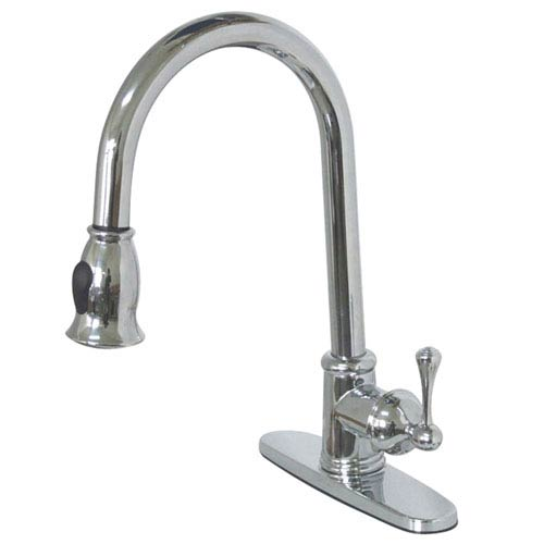 Vintage Chrome 8-Inch Centerset Low Lead Single Handle Kitchen Faucet with Pull-Down Sprayer