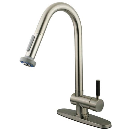 Gourmetier Kaiser Satin Nickel 8-Inch Centerset Low Lead Single Handle Kitchen Faucet with  Pull-Out Sprayer