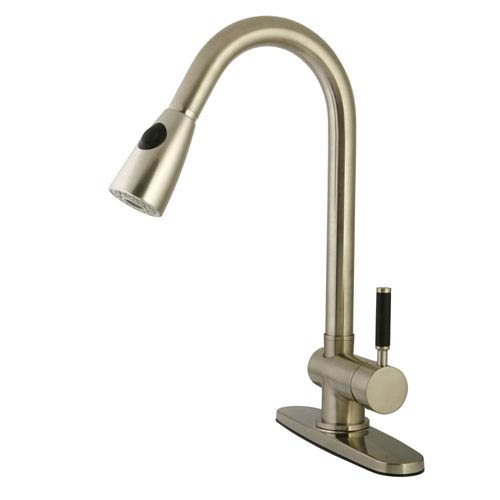 Gourmetier Kaiser Satin Nickel 8-Inch Centerset Low Lead Single Handle Kitchen Faucet with  Pull-Out Spray Kitchen Faucet