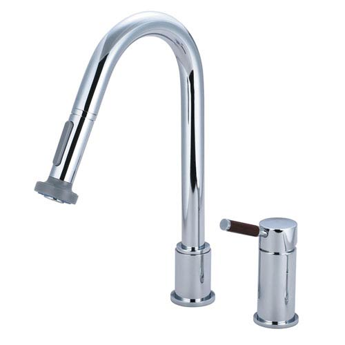 Wilshire Chrome Widespread Low Lead Single Handle Kitchen Faucet with Pull-Out Sprayer