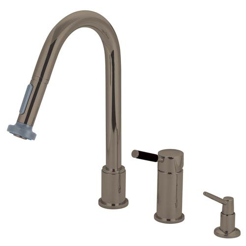 Kaiser Satin Nickel Widespread Low Lead Single Handle Kitchen Faucet with Pull-Out Sprayer and  Soap Dispenser