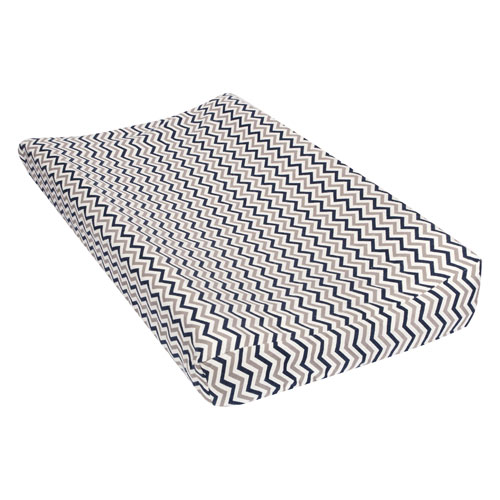 Navy and Gray Chevron Deluxe Flannel Changing Pad Cover